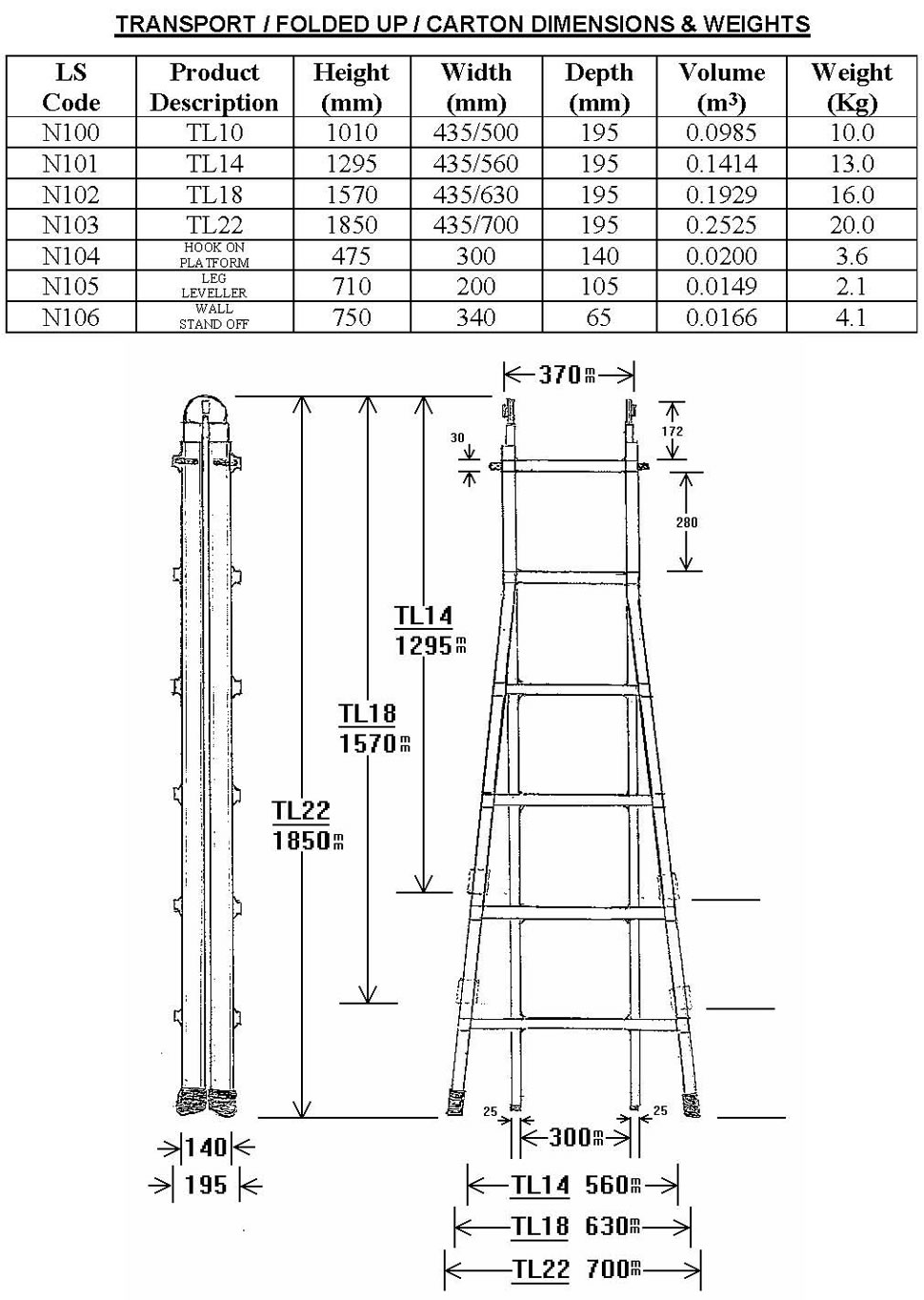 Wak 220 Telescopic Ladders Dimensions The Ladder Shop